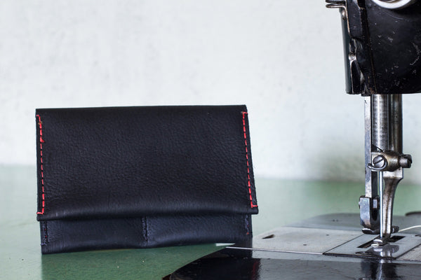 Leather Wallet Black w/ red stitch - Valentich