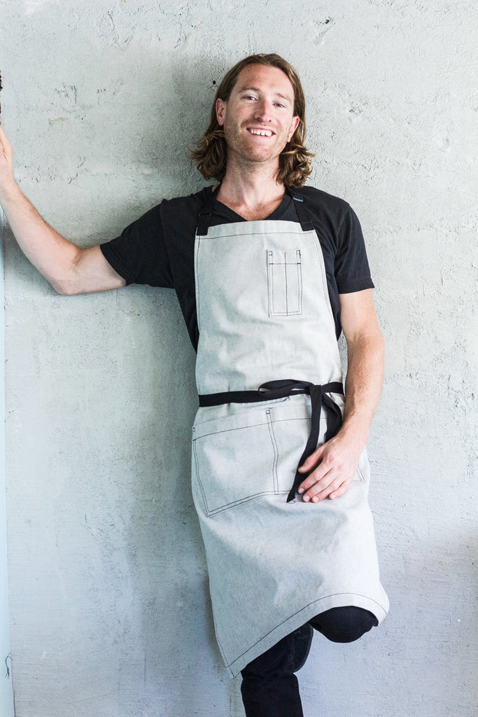 salt + pepper denim restaurant bib apron with black straps