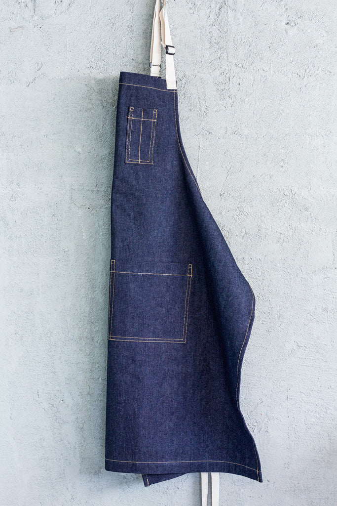 Oui Chef Apron -- Blue Denim - Valentich
