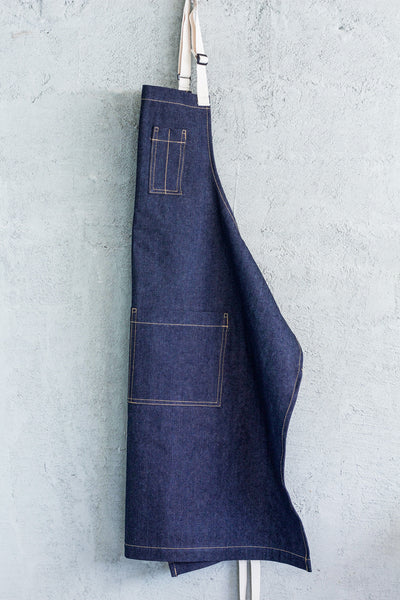 blue denim restaurant bib apron
