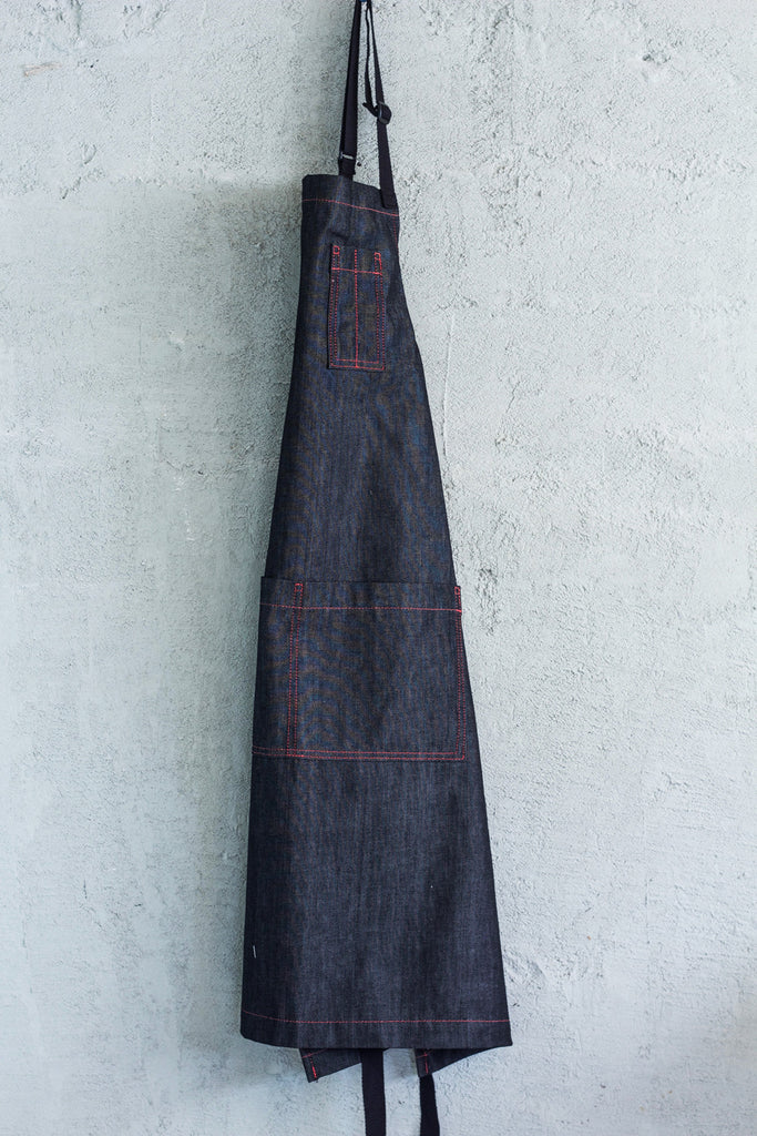 charcoal denim restaurant bib apron w/ red stitching