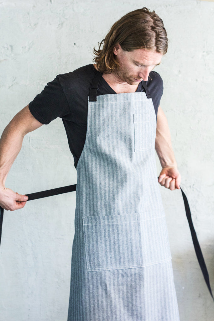Oui Chef Restaurant Apron -- Herringbone Denim - Valentich