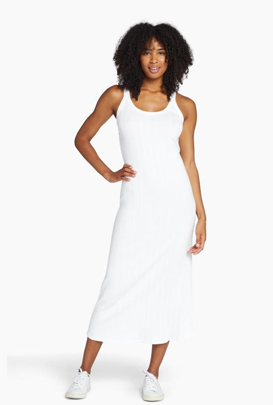 West Dress - White Organic Rib