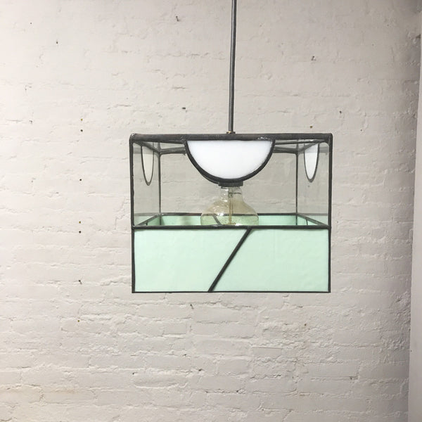 Deco Inspired Up Half Moon Glass Pendant Light