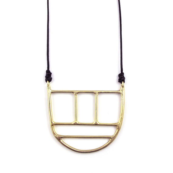 Goldeluxe Jewelry Brass Oversized Linear Pendant