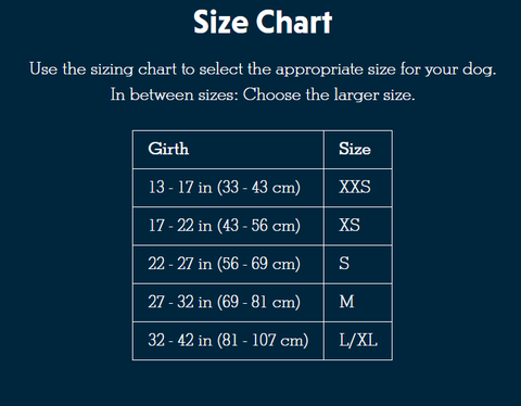 size chart for ruffwear harness