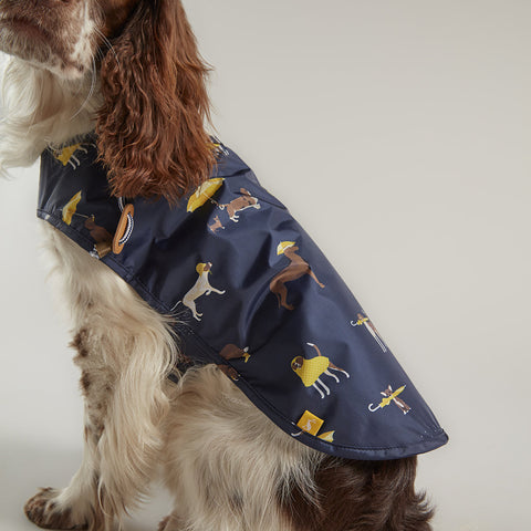patterned dog raincoat