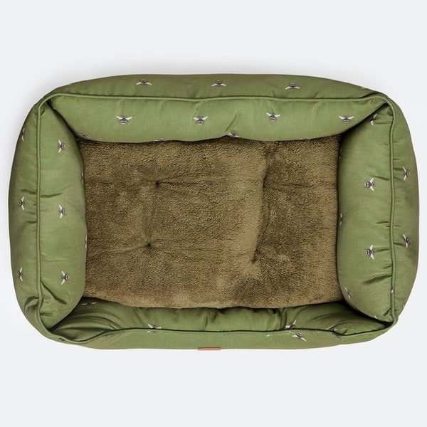 Khaki Bee Print Joules Dog Bed with FREE TOY