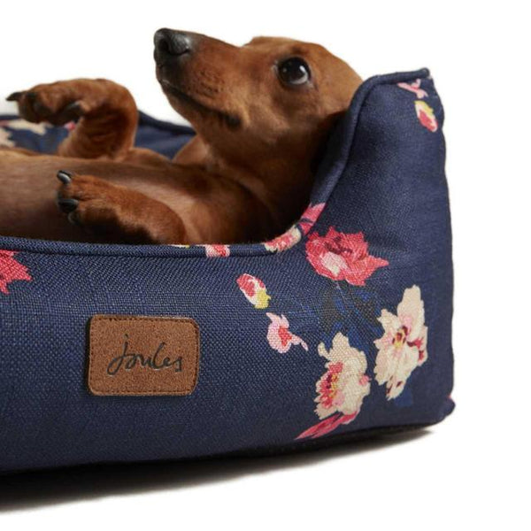 Floral Navy Joules Dog Bed with FREE TOY