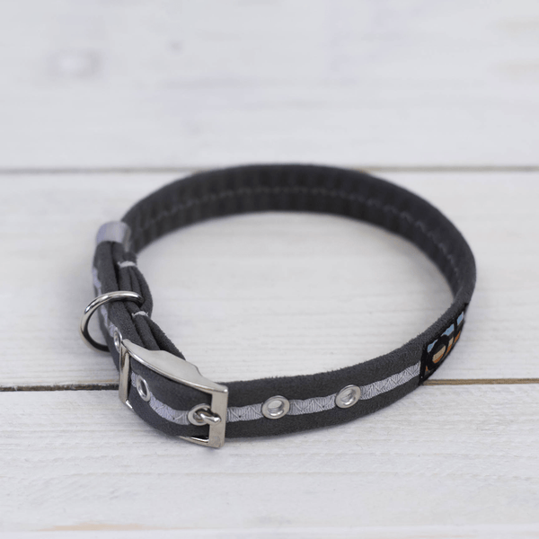 Grey Oscar and Hooch Dog Collar - Doghouse