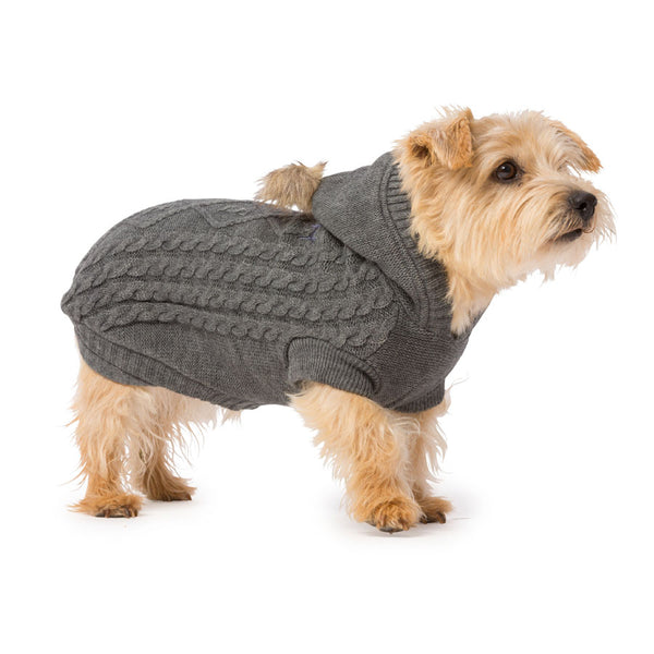 Cable Knit Hoodie for Dogs with Pom Pom