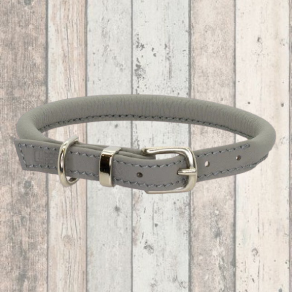Grey Rolled Leather Dog Collar