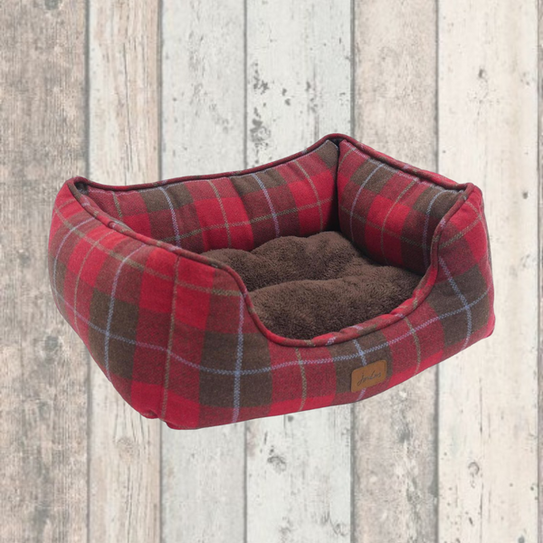 Red Tweed Joules Dog Bed with FREE TOY