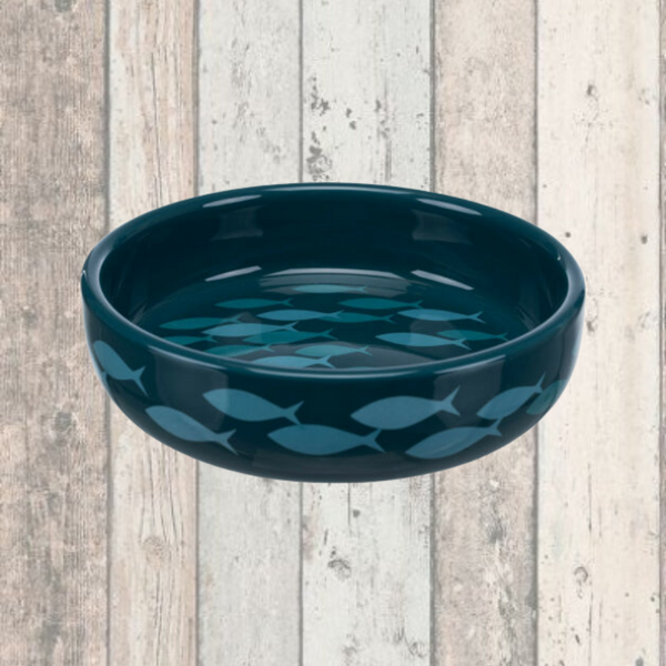 Trixie Blue Fish Ceramic Cat Food Bowl - Doghouse