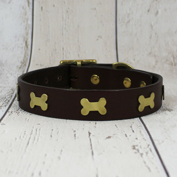 Creature Clothes Dog Collar Chocolate Bone