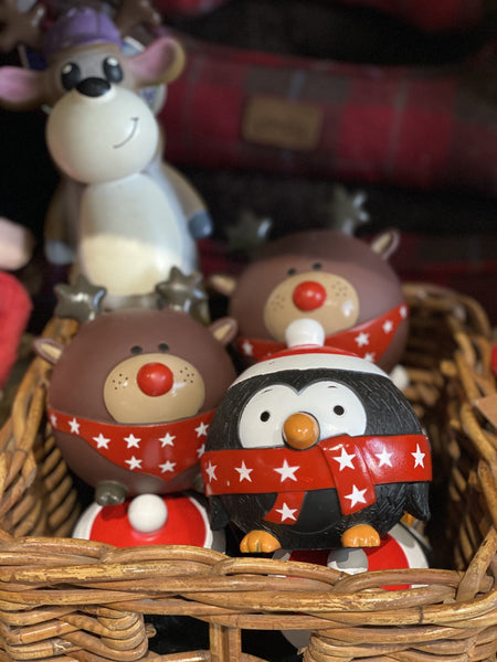 Squeaky Christmas Penguin and Rudolph Toy Balls