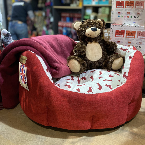earthbound red dog bed with fluffy teddy for puppies