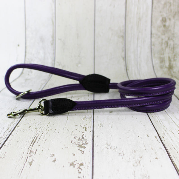 Purple Rolled Leather Dog Lead
