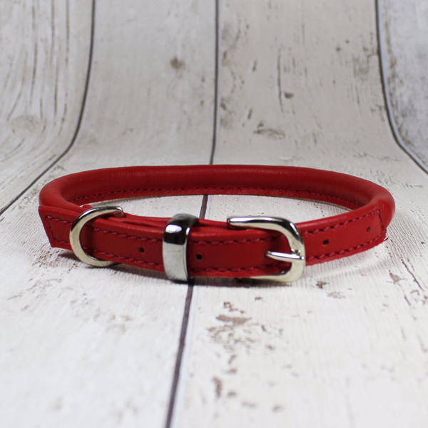 Red Rolled Leather Dog Collar