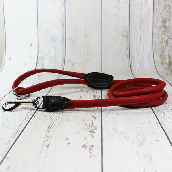 Red Rolled Leather Dog Lead