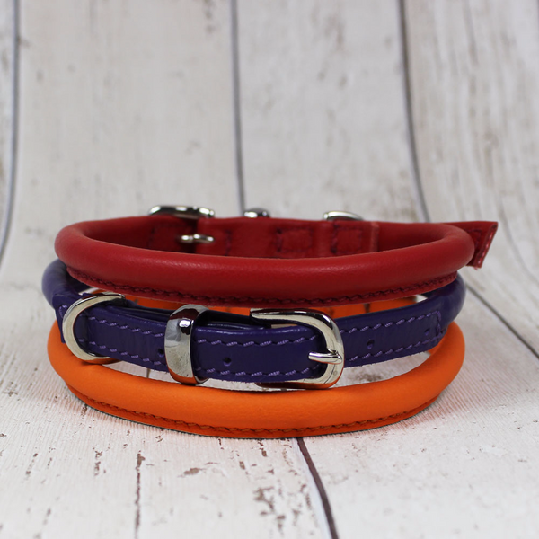 Red Rolled Leather Dog Collar - Doghouse