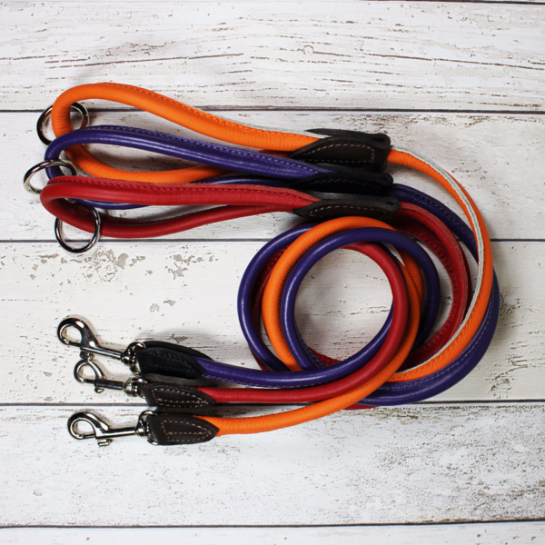 Purple Rolled Leather Dog Lead - Doghouse