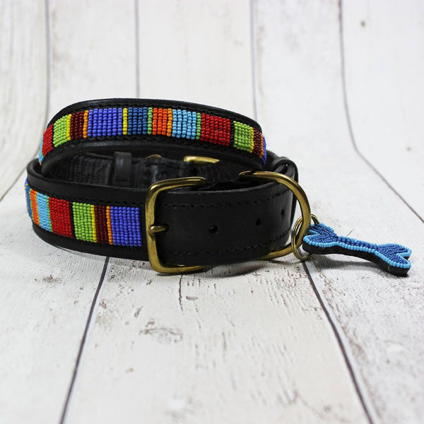 Stripe Kenyan Beaded Dog Collar - Doghouse