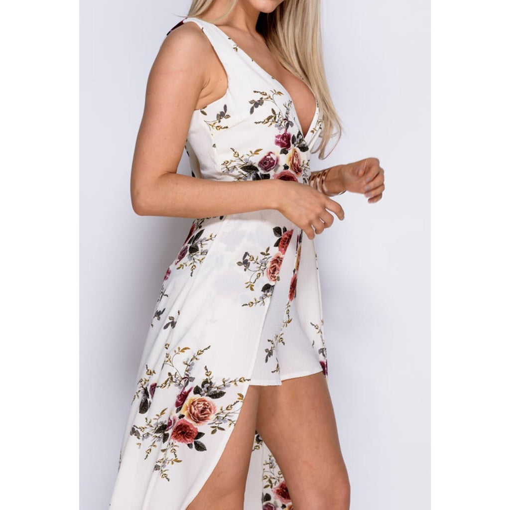 61373b6d6219 ... Angie Floral Print Romper with Maxi Overlay - Provi Apparel ...