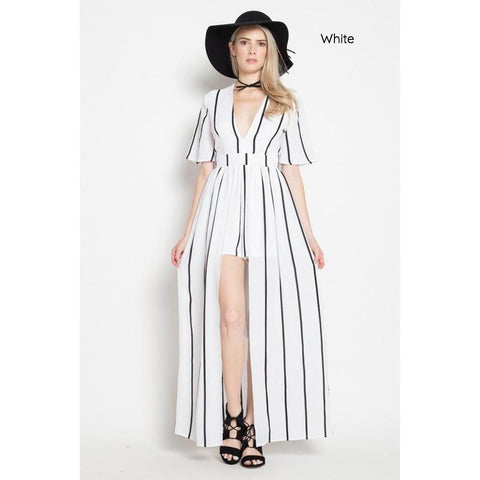 87cda6ab300e Miya Striped Skort Romper with Maxi Overlay