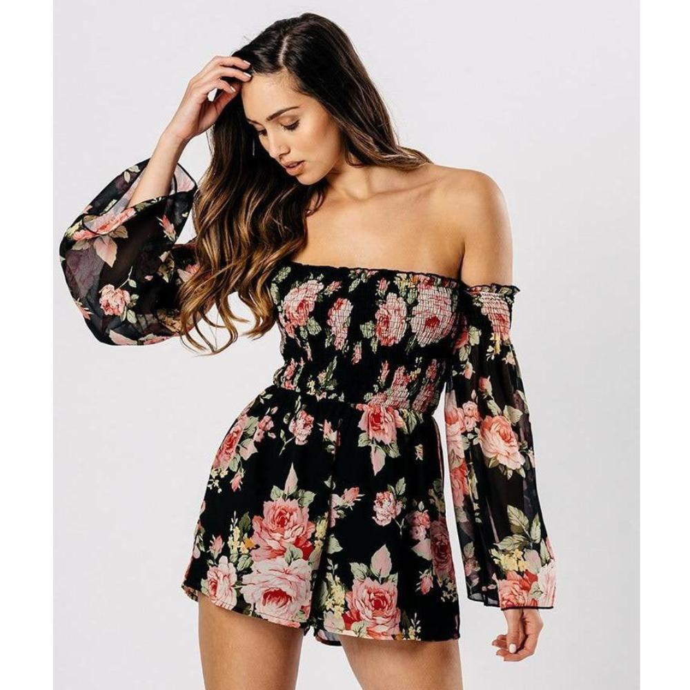 3cc8dfd3a1440 Madison Floral Print Off the Shoulder Romper