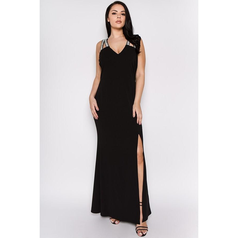 688f132c746 Mari Black Sleeveless Maxi Dress with Slit-Provi Plus