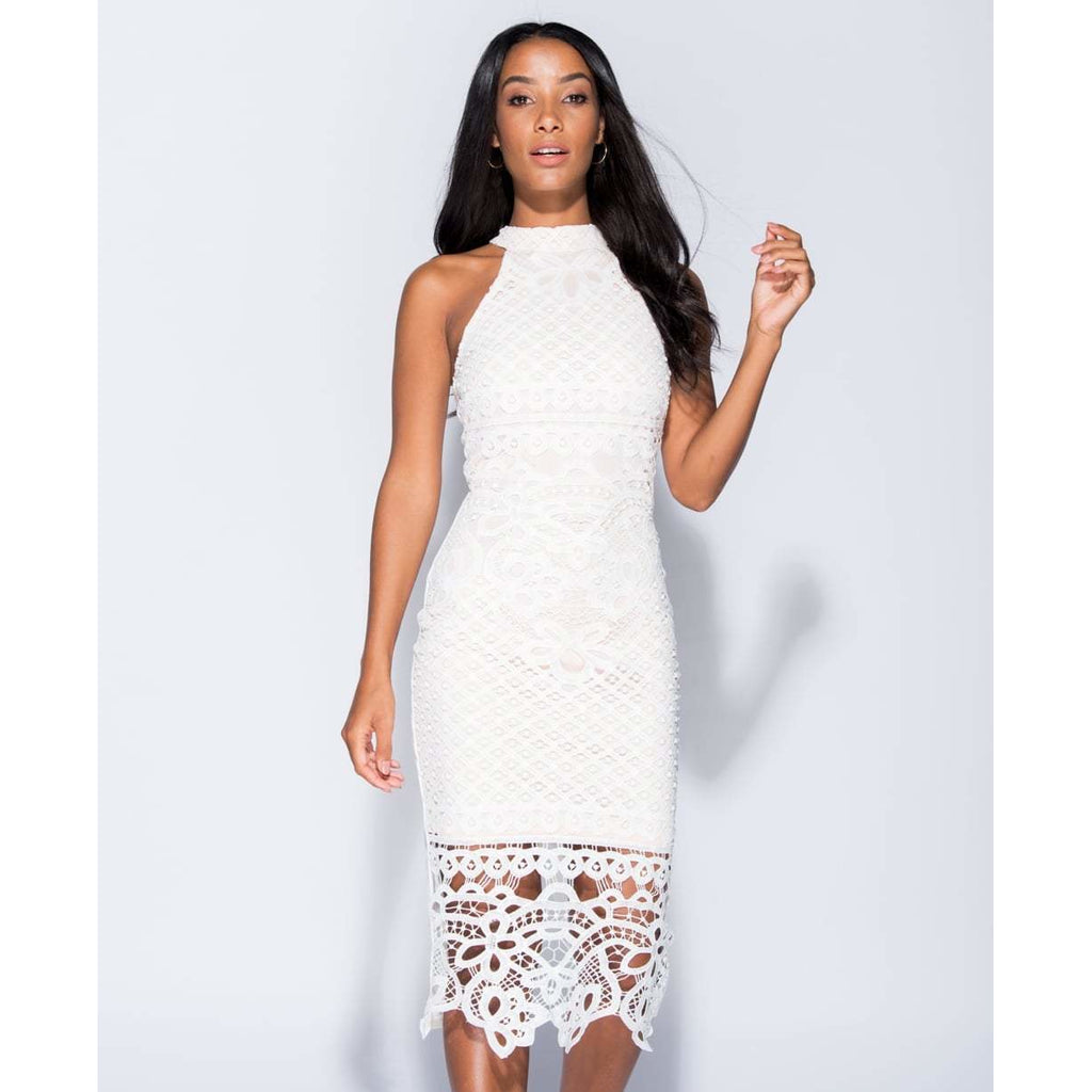 d48e5c914d9 Fayna Lace Overlay High Neck Bodycon Dress