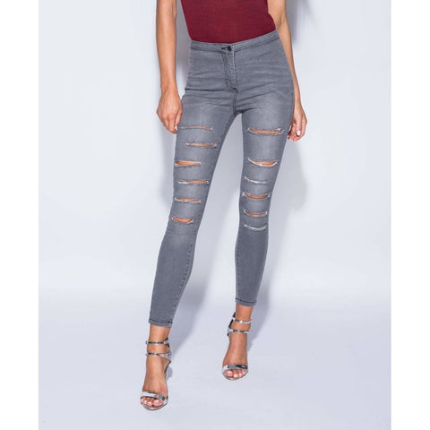 b11a3d0a306cd Noemi Multi Rip High Waisted Grey Jeggings