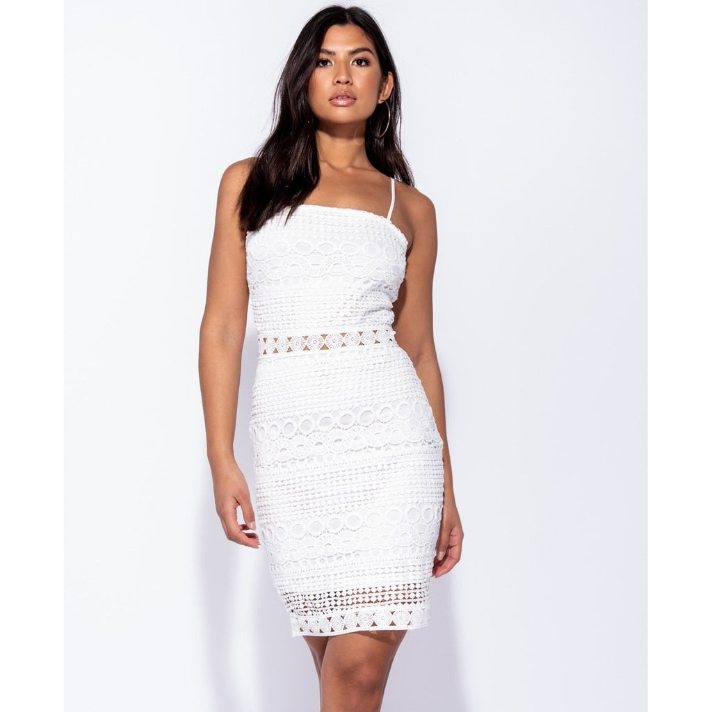 724ba16652c Kenzie White Crochet Bodycon Dress