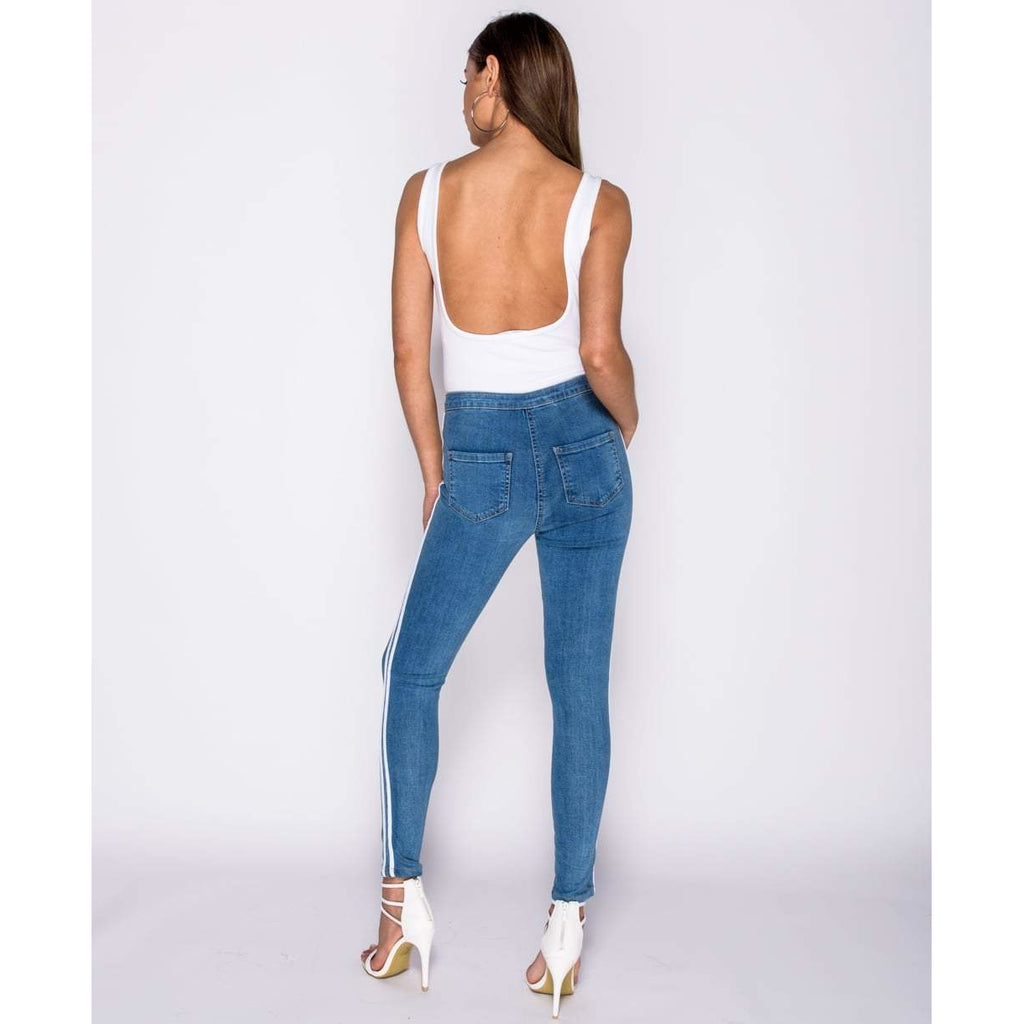sale super cheap compares to official photos Lily White Side Stripe Jeggings