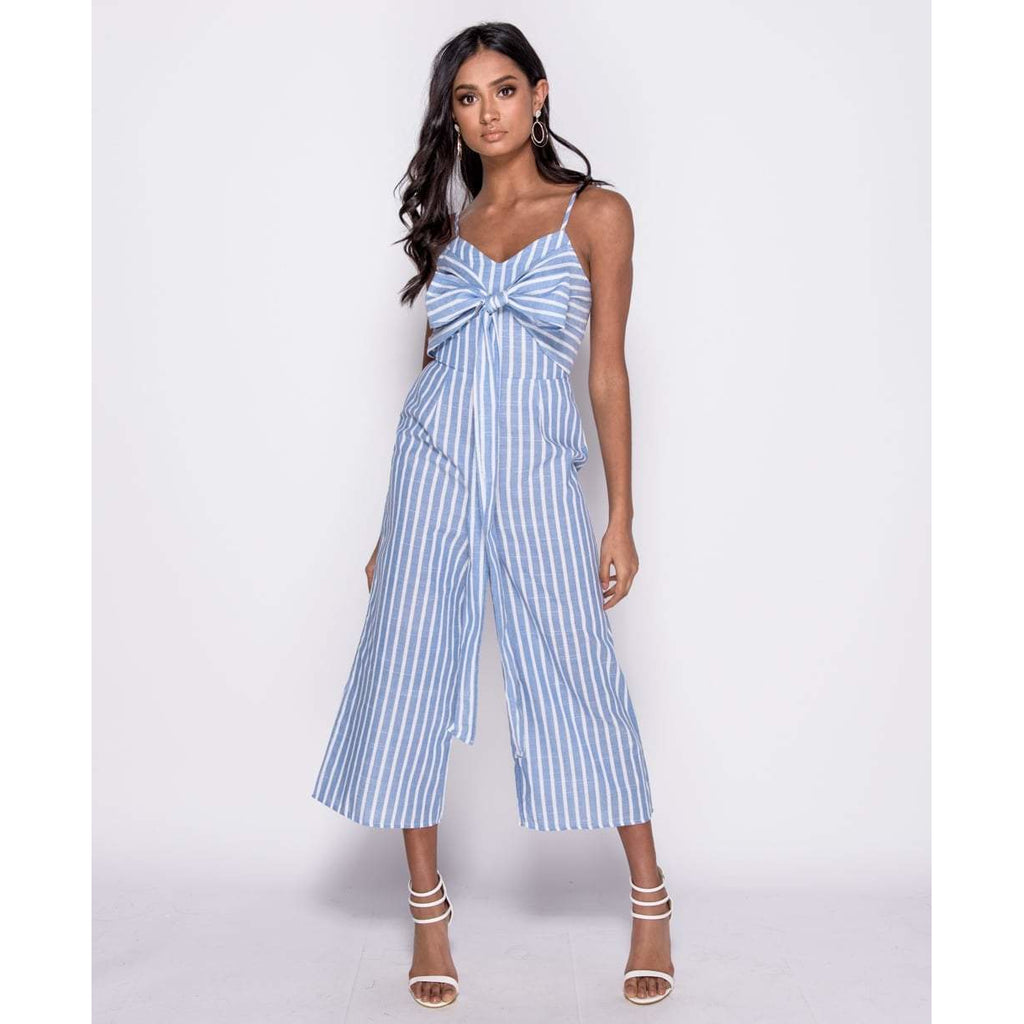 214c367d39a ... Mackenzie Striped Bow Front Cropped Jumpsuit - Provi Apparel ...