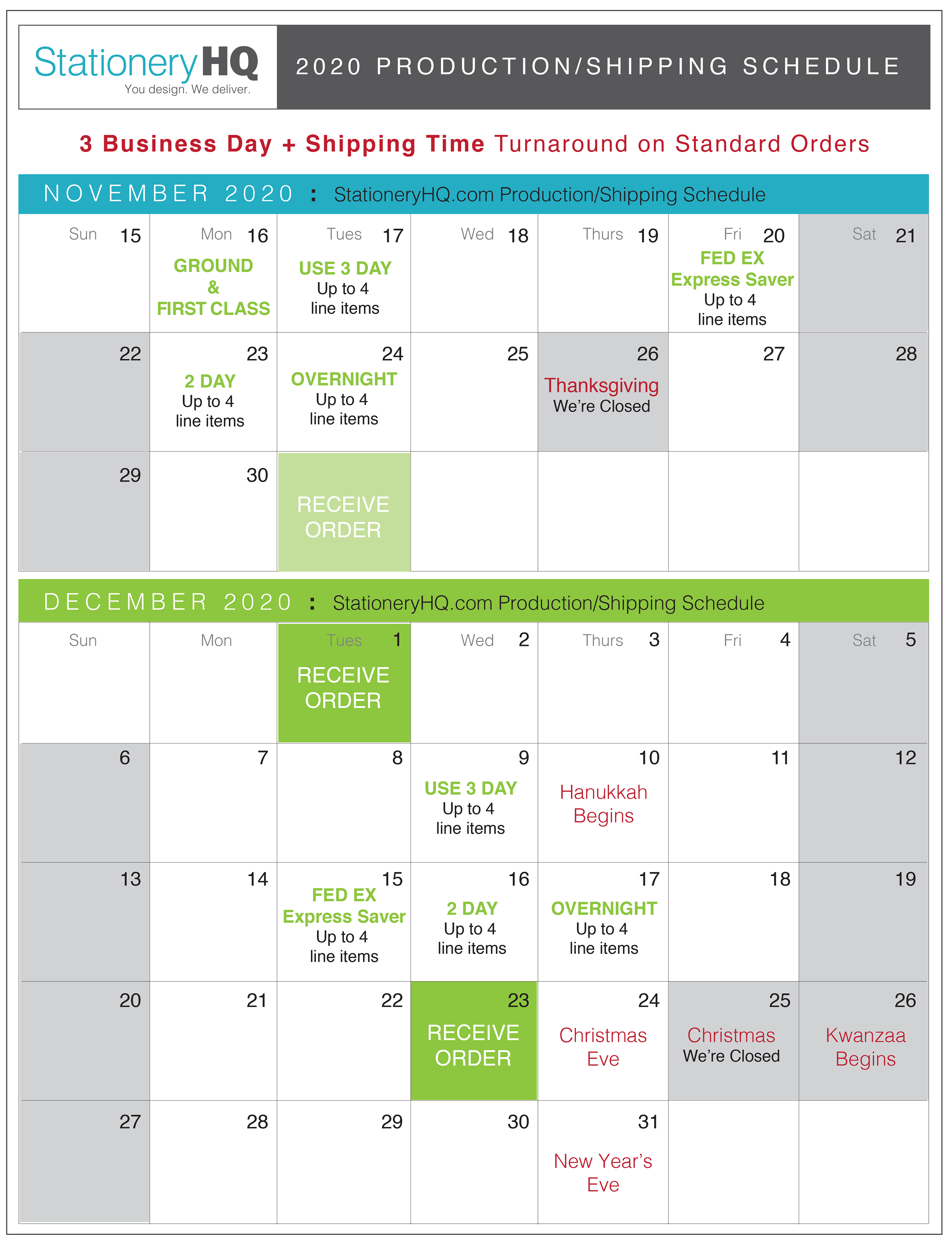 StationeryHQ Holiday Production/Shipping Schedule