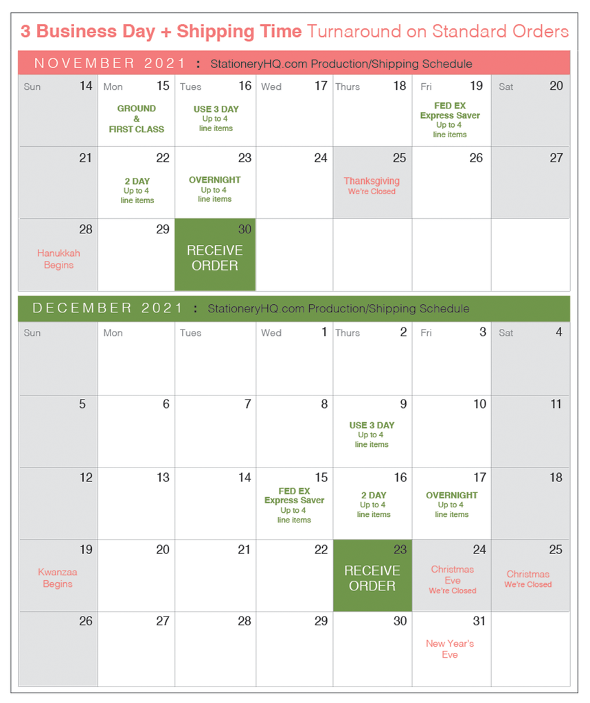 StationeryHQ Stationery Printing Services Holiday Production Schedule