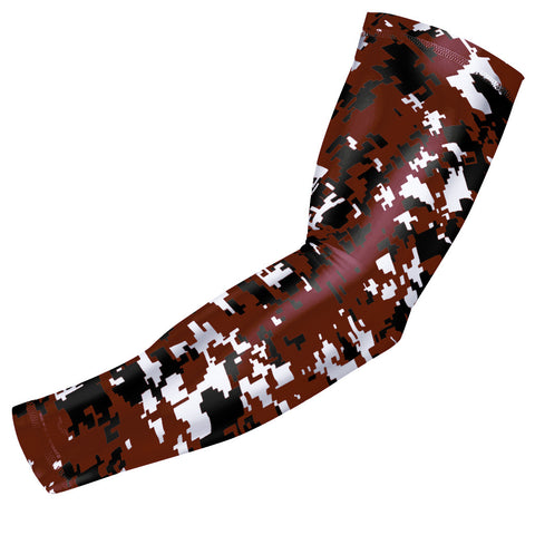 Maroon Digital Camo Compression Arm Sleeve