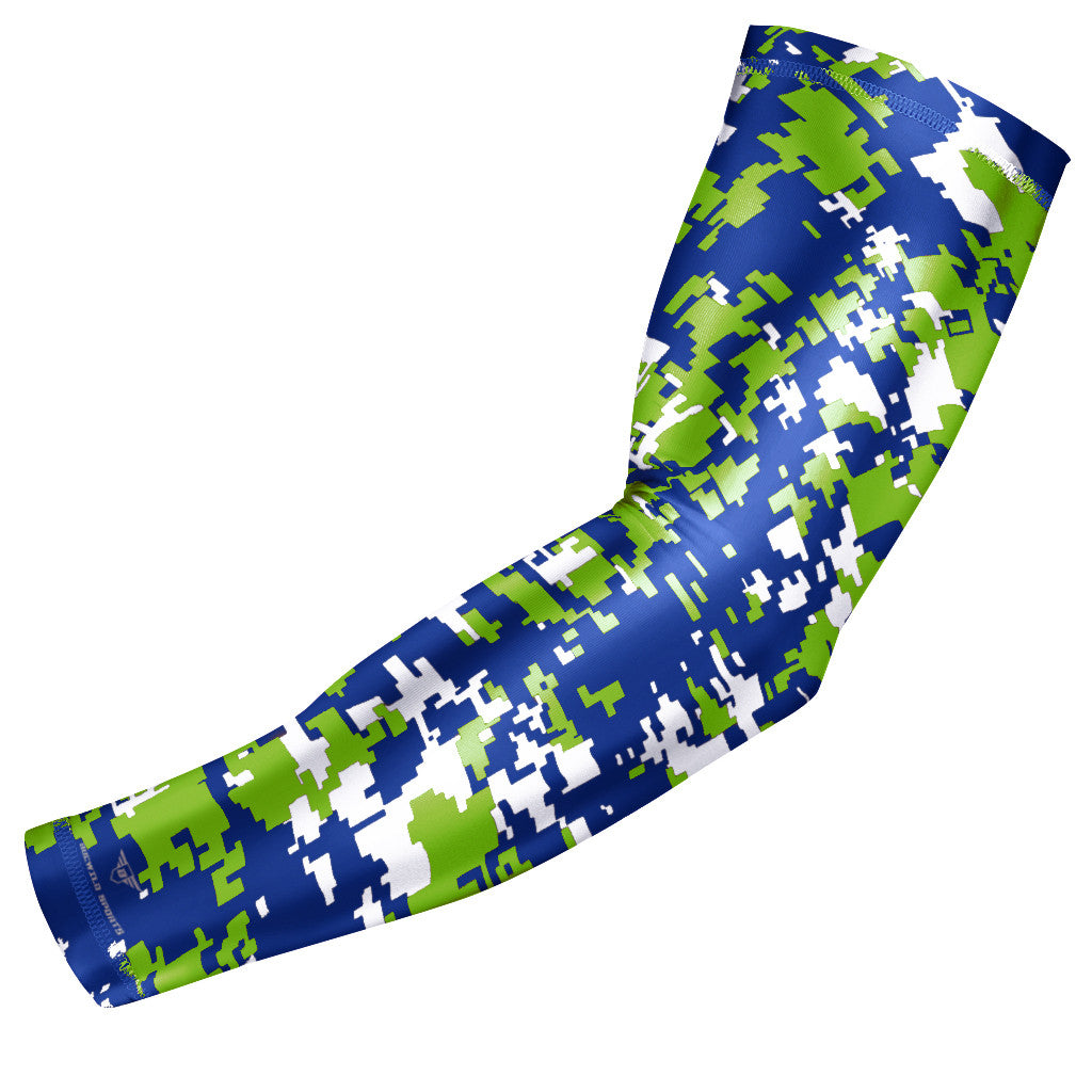 Blue-Green Digital Camo Compression Arm Sleeve
