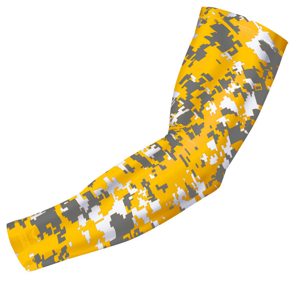 Yellow - Gray Digital Camo Compression Arm Sleeve
