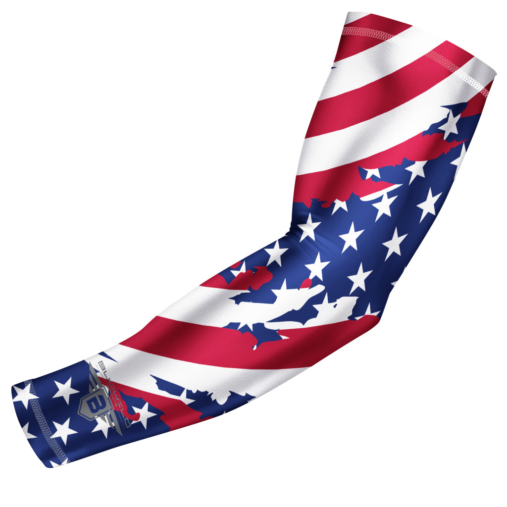 Bucwild Sports USA Flag Compression Arm Sleeve - Stripes