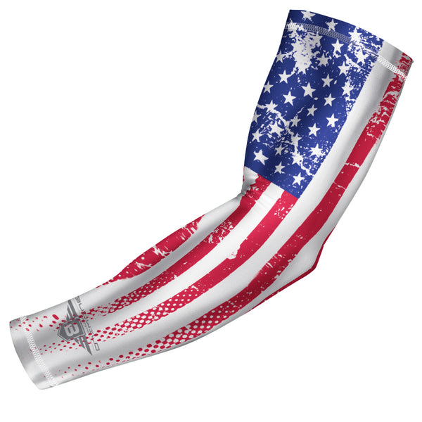 Bucwild Sports USA Flag Compression Arm Sleeve - Weathered