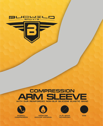 Bucwild Sports Puerto Rico Flag & Skull Compression Arm Sleeve