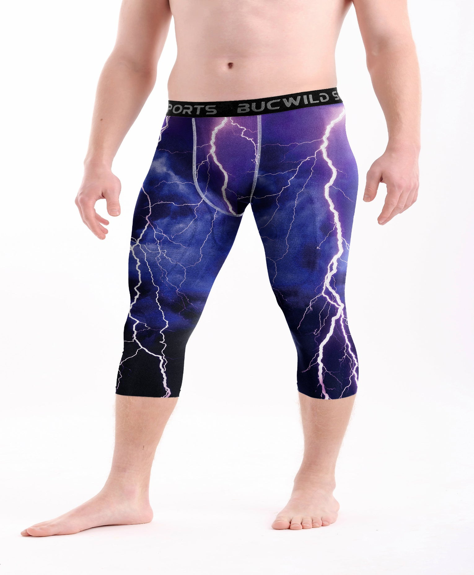 3/4 Compression Pants/Tights - Blue Purple Lightning