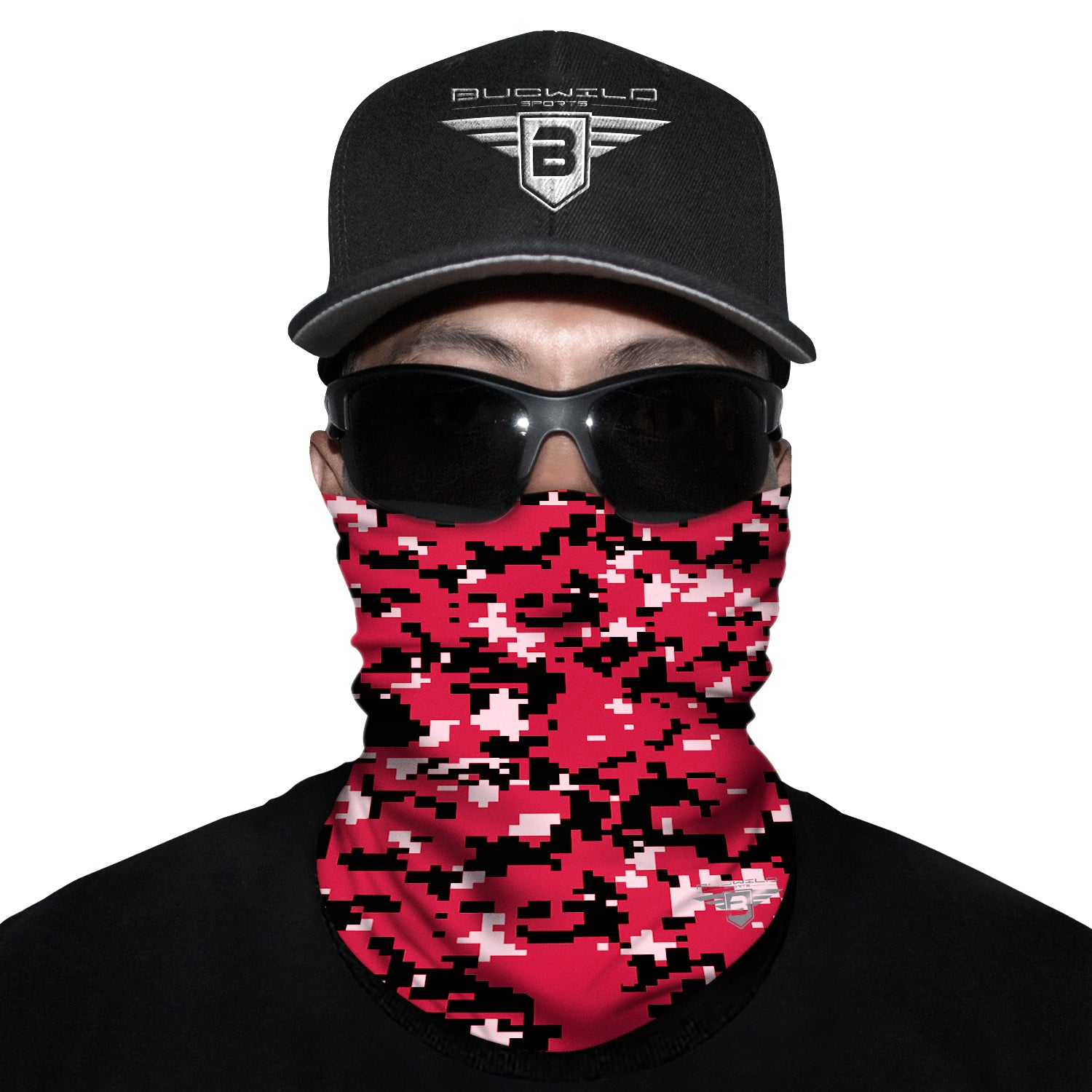 Red Camo Neck Gaiter Face Mask