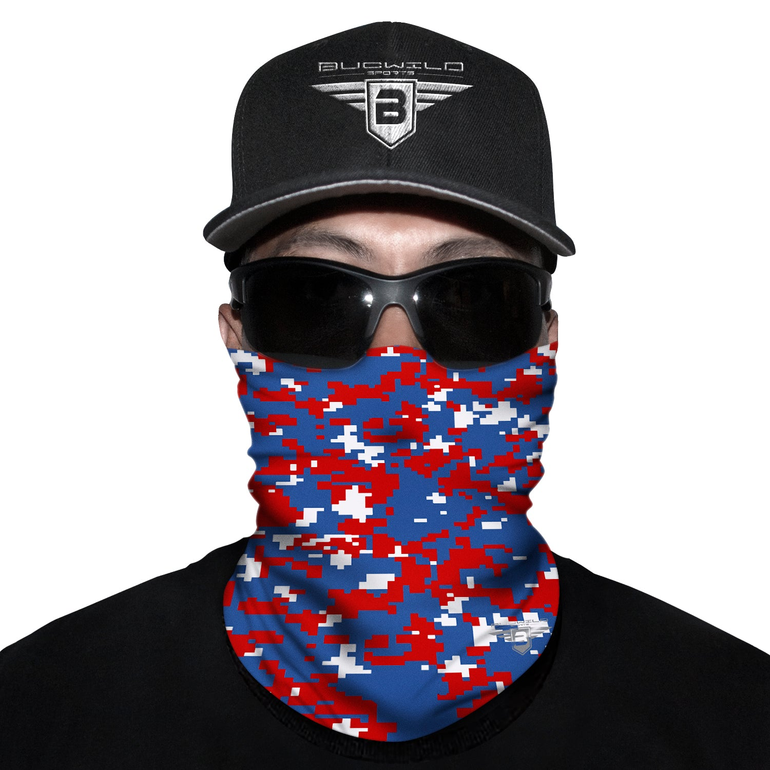 Royal Blue Red Camo Neck Gaiter Face Mask