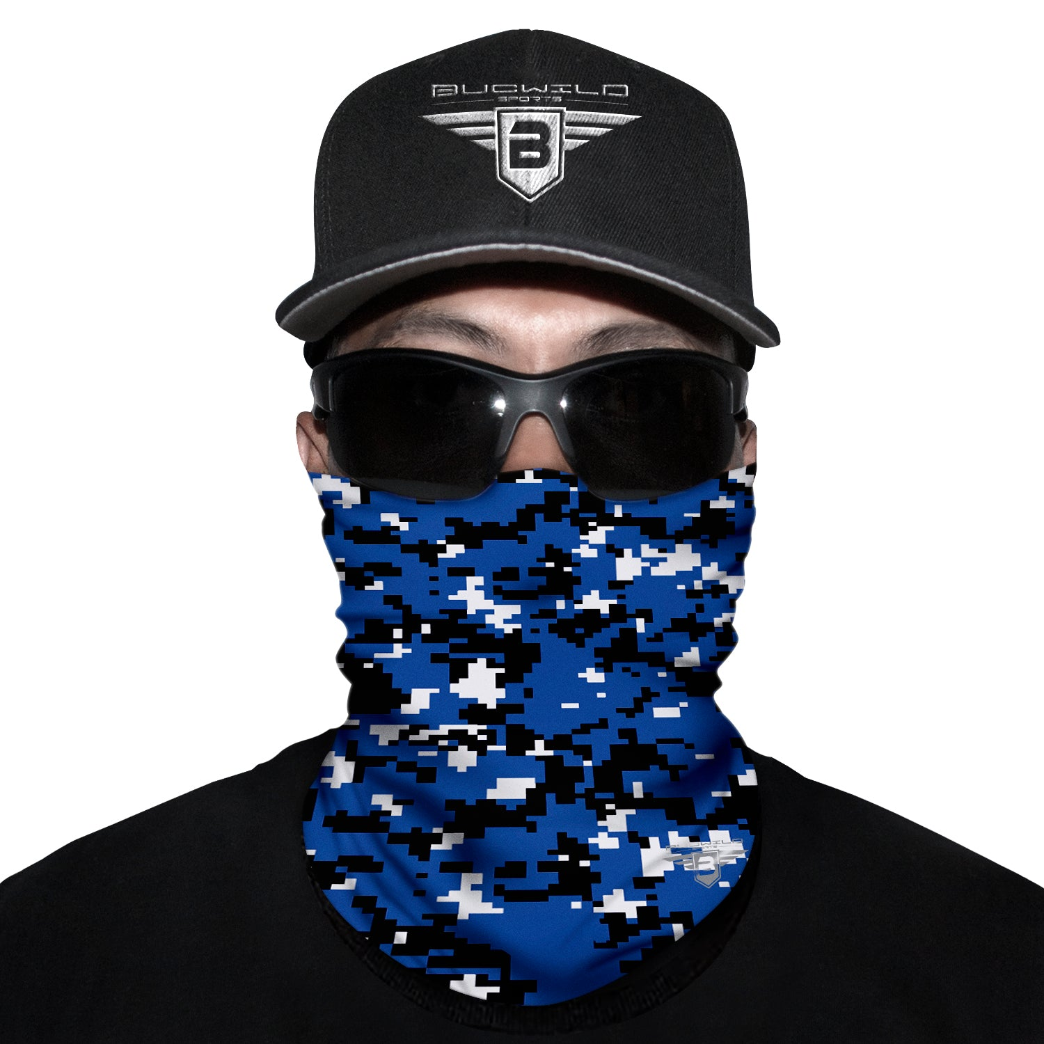 Royal Blue Camo Neck Gaiter Face Mask
