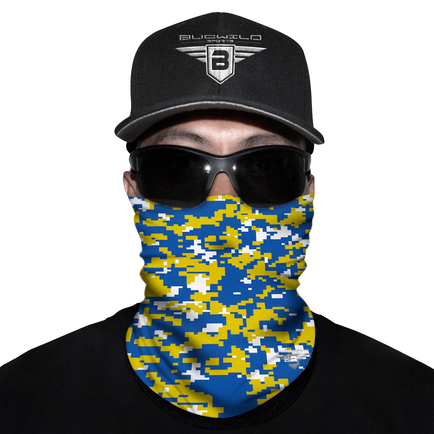 Yellow Blue Camo Neck Gaiter Face Mask
