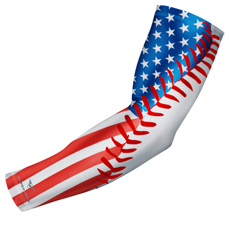 USA Flag Baseball Stitch Compression Arm Sleeve